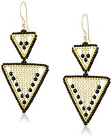 Miguel Ases Double Open Triangle Waterfall Onyx Chain Drop Earrings