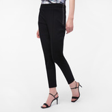 Paul Smith Women's Slim-Fit Black Cotton-Twill Trousers With Waist Zip