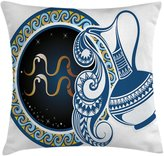 Zodiac Decor Throw Pillow Cushion Cover by Ambesonne, Image of Aquarius Sign with Jug and Circular Globe World Form on Background, Decorative Square Accent Pillow Case, 24 X 24 Inches, Blue Gold