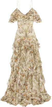 Alexander McQueen Cold-shoulder Ruffled Floral-print Silk-georgette Gown