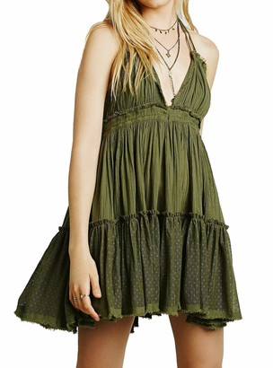 Generic Womens Summer Halter Deep V Neck Sexy Patchwork Mini Short Dresses (Olive Green Small)