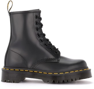 Dr. Martens Model 1460 Combat Boot In Shiny Black Leather
