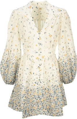 Zimmermann Puff Sleeves Floral Mini Dress