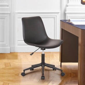 Nassar Leather Task Chair Ebern Designs Upholstery Color: Gray