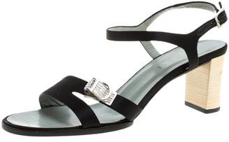 Black Satin Block Heel Shoes | Shop the