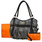 Wendy Bellissimo Wendy BellissimoTM Tamale Studded Tote Diaper Bag in Grey/Orange