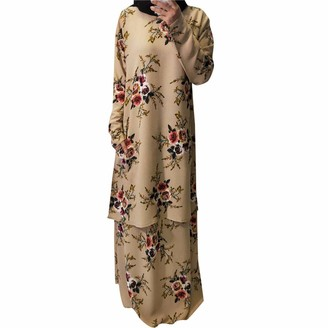 Maheegu Dress 2Pcs Women Fashion Abaya Dress Robes Long Sleeves Summer Islamic Clothing Plus Size Maxi Dress Muslim Middle East Floral Top Dress Suit (Black L)