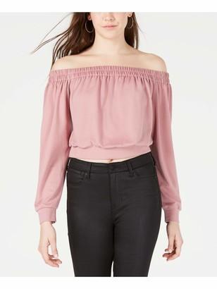 80s Material Girl Material Girl Womens Pink Long Sleeve Off Shoulder Crop Top Top Juniors Size: S