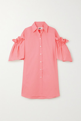 MM6 MAISON MARGIELA Ruffled Cotton Mini Shirt Dress - Peach