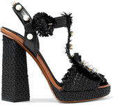 Dolce & Gabbana Embellished Raffia And Leather Platform Sandals - Black