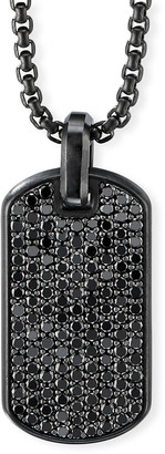 David Yurman Men's Black Diamond Streamline Dog Tag