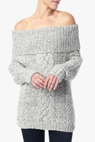 7 For All Mankind Off The Shoulder Cable Knit Sweater In Cream And Black