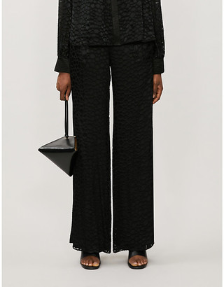 Alexis Galini animal-print wide high-rise jacquard trousers