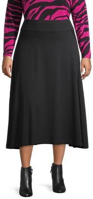 Joan Vass, Plus Size Modern-Fit Midi A-Line Skirt
