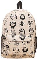 Donalworld Woen Cool Beard Owl Backpack Canvas Shoulder Bag