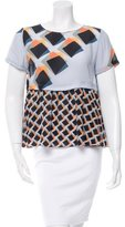 Suno Silk Geometric Print Top