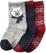 Joe Fresh Toddler Boys' 3 Pack Holiday Socks, Grey (Size 3-5)
