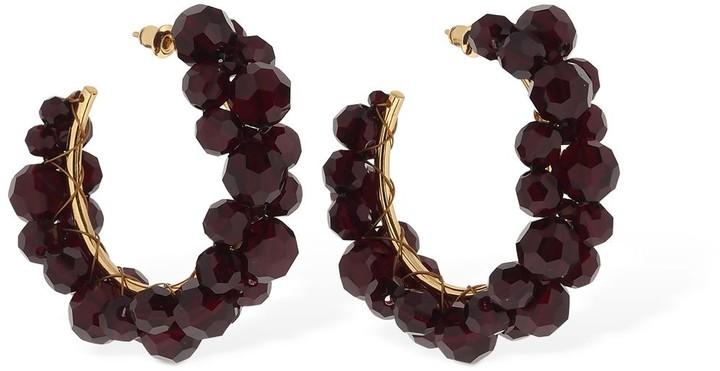 Thumbnail for your product : Simone Rocha Medium Wiggle Crystal Hoop Earrings