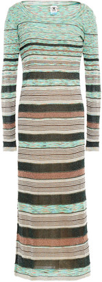 M Missoni Marled Ribbed And Pointelle-knit Wool-blend Midi Dress