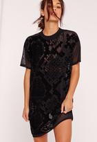 Missguided Black Petite Snake Flock Mesh T-Shirt Dress