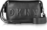 DKNY Debossed Logo Black/Black Leather Crossbody Bag