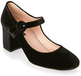Alberto Zago Black Velvet Block Heel Mary Jane Pumps