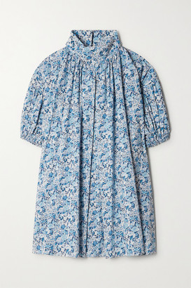 NACKIYÉ Frou Frou Gathered Floral-print Cotton-poplin Mini Dress - Blue