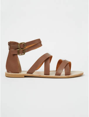 George Tan Brown Zip Back Gladiator Sandals