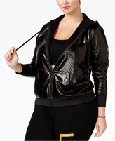Material Girl Active Plus Size Metallic Fleece Hoodie, Only at Macy's