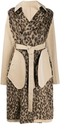 Unravel Project leopard-print pocket detail trench coat