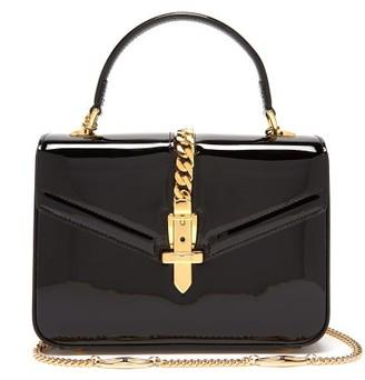 Gucci Sylvie 1969 Mini Patent-leather Shoulder Bag - Black
