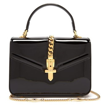 Gucci Sylvie 1969 Mini Patent-leather Shoulder Bag - Womens - Black
