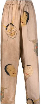 UMA WANG Face-Print Tapered Trousers