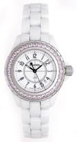 Chanel excellent (EX White J12 with Pink Sapphire 33mm Ladies Ceramic Watch H1181 - Quartz