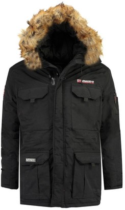 Geographical Norway Warm Parka with Faux Fur Hood and Pockets