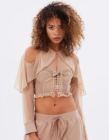 Mesh Bustier Top with Sleeves