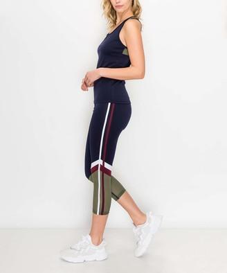 Kimberly C Women's Leggings Navy - Navy & Green Color Block Stripe Racerback Tank & Capri Leggings - Women