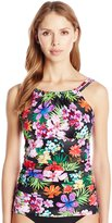 Caribbean Joe Women's Sun Kissed Tropical Shirred High Neck Tankini