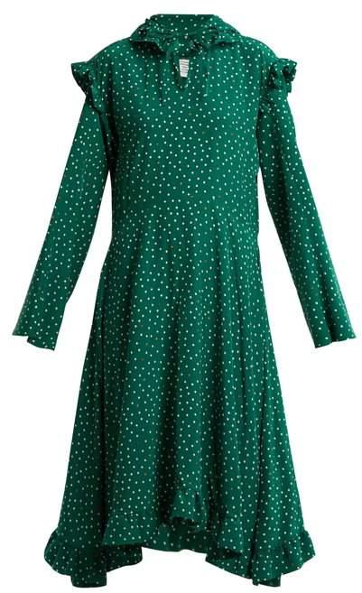 Vetements Hooded Emoji Print Crepe De Chine Dress - Womens - Green Print