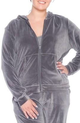 SLINK Jeans Velour Zip Up Hoodie (Plus Size)
