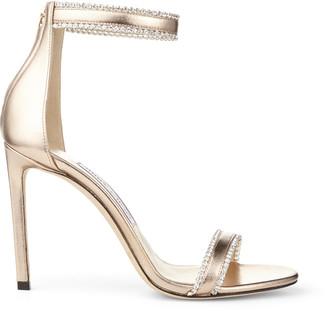 Jimmy Choo DOCHAS 100 Nude Metallic Leather Open Toe Sandals with Jewel Trim