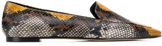 Aeyde Aurora snake print loafers