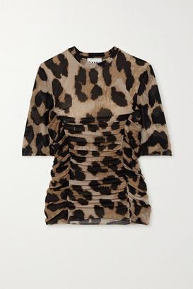 Ganni Ruched Leopard-print Stretch-mesh T-shirt