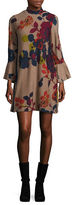 Context Bell-Sleeved Floral Knit Dress
