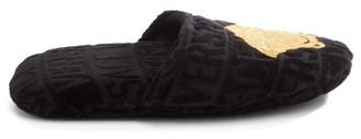 Versace Medusa-embroidered Logo-velvet Slippers - Mens - Black