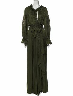 Dundas V-Neck Long Dress Green