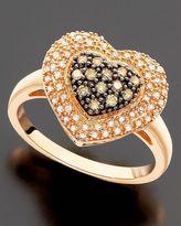 14k Rose Gold Champagne & White Diamond Heart Ring (1/3 ct. t.w.)