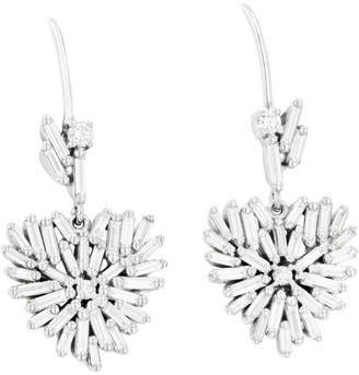 Suzanne Kalan White Gold And Diamond Heart Drop Earrings