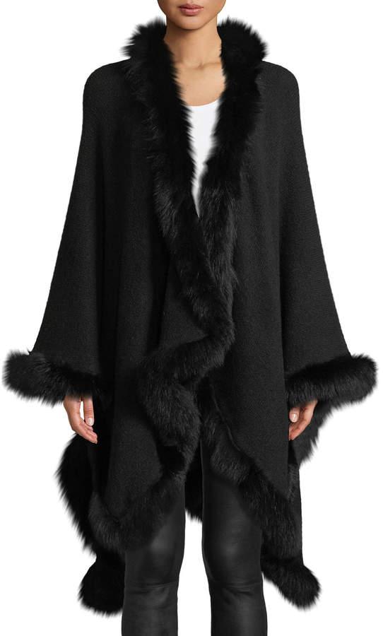 Alice + Olivia Kamala Oversized Drape Poncho with Fur Trim