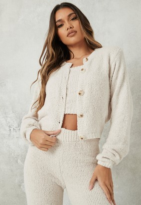 Missguided Cream Co Ord Cosy Cropped Cardigan